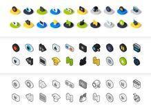 Reeks pictogrammen in verschillende stijl - isometrische vlakke en otline, gekleurde en zwarte versies Royalty-vrije Stock Fotografie