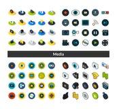 Reeks pictogrammen in verschillende stijl - isometrische vlakke en otline, gekleurde en zwarte versies Stock Fotografie