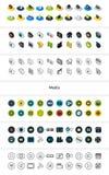Reeks pictogrammen in verschillende stijl - isometrische vlakke en otline, gekleurde en zwarte versies Royalty-vrije Stock Foto