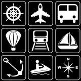 Reeks pictogrammen - Vervoer, reis, rust Royalty-vrije Stock Afbeeldingen