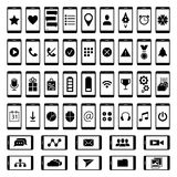 Reeks pictogrammen voor gebruikersinterfacemobiele apparaten en Webtoepassingen Stock Foto