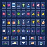 Reeks pictogrammen voor gebruikersinterfacemobiele apparaten en Webtoepassingen Stock Fotografie