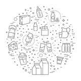 Reeks pictogrammen voor melk Stock Foto's