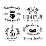 Reeks pictogrammen voor needlewoman, met de hand gemaakte meesters, met de hand gemaakt ondergoed vector illustratie