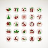 Reeks pictogrammen voor Nieuwjaar en Kerstmis Stock Foto's
