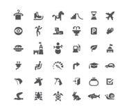 Reeks pictogrammen Weg en dieren De sneeuwmanhamburger en toren van carrouselvleten Geïsoleerd zwart-wit Royalty-vrije Stock Afbeeldingen
