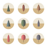Reeks pictogrammenbomen Royalty-vrije Stock Afbeeldingen