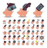 Reeks 48 pictogrammenspaarvarken en besparingen Stock Afbeeldingen