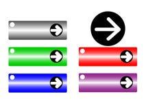 Reeks pijlen in basiskleuren Stock Afbeeldingen