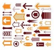 Reeks pijlen, hand getrokken vectorillustratie Stock Afbeeldingen