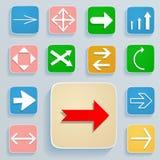 Reeks pijlen op pictogrammen Stock Foto
