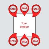 Reeks pijlen, wijzers, om uw producten te verkopen Stock Afbeeldingen