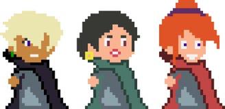 Reeks pixelkarakters in kunststijl royalty-vrije stock afbeelding