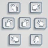 Reeks pixelpictogrammen met schaduwen van grijs Royalty-vrije Stock Fotografie
