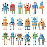 Reeks pixelrobots Stock Afbeelding