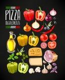 Reeks pizzaingrediënten Stock Foto's