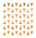 Reeks pizzaplakken met verschillende bovenste laagjes met inbegrip van garnalen, Spaanse peperpeper, paddestoelen, bacon, kaas, u Royalty-vrije Stock Afbeelding