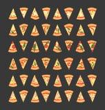Reeks pizzaplakken met verschillende bovenste laagjes met inbegrip van garnalen, Spaanse peperpeper, paddestoelen, bacon, kaas, u Royalty-vrije Stock Foto's