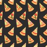 Reeks pizzaplakken met verschillende bovenste laagjes Vector illustratie Naadloze patte Stock Foto