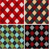 Reeks plaidpatronen, cottons Stock Afbeelding