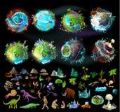 Reeks planeten en elementen voor spelontwerp stock illustratie