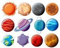 Reeks planeten en manen royalty-vrije illustratie