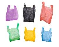 Reeks plastic zakken Stock Foto's