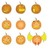 Reeks pompoenen van Halloween Royalty-vrije Stock Afbeelding