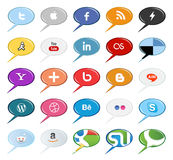 De bellen sociale media van de toespraak knopen en pictogrammen Stock Foto's