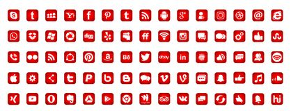 Reeks populaire sociale media emblemenpictogrammen Instagram Facebook Twitter Youtube WhatsApp LinkedIn Pinterest Blogd op witte  vector illustratie