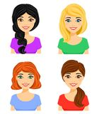 reeks Portretten van aantrekkelijke meisjes met verschillende kapsels Verschillende haarkleur stock illustratie