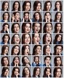 Reeks portretten van de jonge vrouw met verschillende emoties stock fotografie