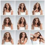 Reeks portretten van de jonge vrouw met verschillende gelukkige emoties stock fotografie