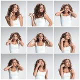 Reeks portretten van de jonge vrouw met verschillende gelukkige emoties royalty-vrije stock foto