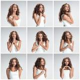 Reeks portretten van de jonge vrouw met verschillende gelukkige emoties Royalty-vrije Stock Foto's