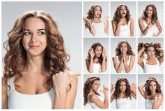 Reeks portretten van de jonge vrouw met verschillende gelukkige emoties Royalty-vrije Stock Afbeelding