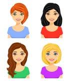 Reeks portretten van jonge meisjes met verschillende kapsels Verschillende haarkleur stock illustratie