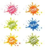 Reeks positieve pictogrammen met felicitaties Stock Foto's