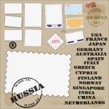 Reeks postzegels en poststempels Stock Afbeeldingen