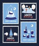 Reeks postzegels gewijd aan Kerstmisvakantie en Nieuwjaar stock illustratie