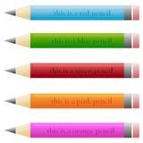 Reeks potloden met grappige beschrijvingen stock illustratie