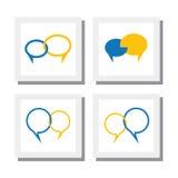 Reeks praatjetekens of van de van het besprekingssymbool of toespraak bellen vectorpictogrammen Stock Afbeeldingen