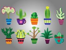 Reeks pret en kleurrijke cactussen stock illustratie