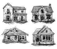 Reeks privé huizen, vectorillustratie Royalty-vrije Stock Foto's