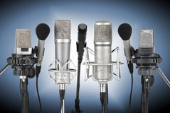 Reeks professionele microfoons Royalty-vrije Stock Fotografie