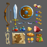 Reeks punten voor spel Verschillende voedsel, wapen, drankje en hulpmiddelen Royalty-vrije Stock Afbeelding