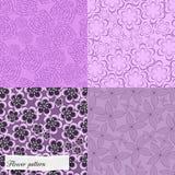 Reeks purpere bloemenpatronen Stock Afbeeldingen