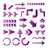 Reeks purpere gradiëntpijlen Vector royalty-vrije illustratie
