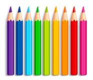 Reeks Realistische 3D Veelkleurige Kleurpotloden of Kleurpotloden Stock Afbeeldingen