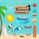 Reeks realistische de zomerpictogrammen en voorwerpen Vector illustratie Stock Afbeeldingen